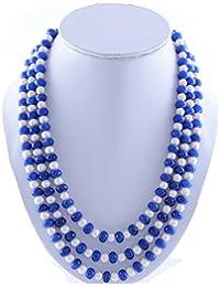Kastiya Jewels Multi Layer Blue Quartz & Fresh Water Pearl Gemstone Beads Necklace Chain For Women