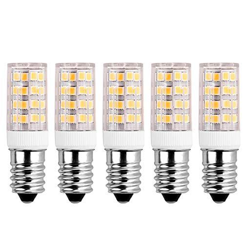 SanGlory 5er Pack 5W E14 LED Lampe ersetzt 40W Glühlampe,warmweiß (3000 Kelvin),400 Lumen E14 Energiesparlampe für Kühlschrank, Tischlampe (5er Pack)