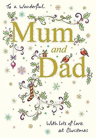 Mum und Dad Weihnachtskarte–Robins von Papier
