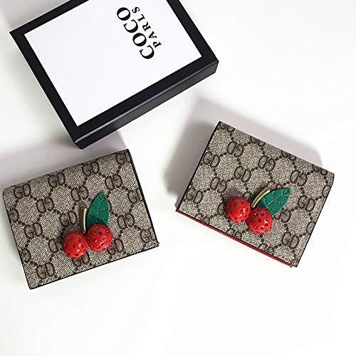 Kirsche bedruckter, Faltbarer Multi-Card-Portemonnaie-Kartenbeutel mit Geldbörse schwarz -