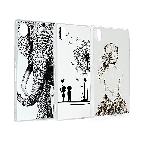 Lanveni 3x Gemalt PC Transparent Hülle für Sony Xperia M4 Aqua Smartphone Schutzhülle Telefon-Kasten Case Shell Handycover Abdeckung Backcover Handyhülle(Elefant Tribal-Muster + Junter + Löwenzahn)