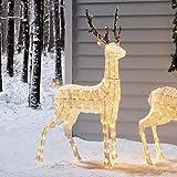 Lights4fun - Reno Luminoso Navidad de Hilo Blanco con LED Blanco Cálido para Interiores y...