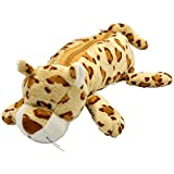 #8: LEVENGER Tiger Animal Cotton Pencil Pouch For Kids Boy and Girls - Fancy stationary Pouch Brown - HPUC011