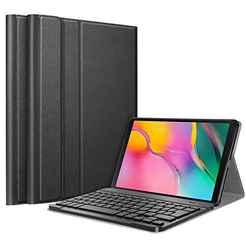Fintie Funda con Teclado Español Ñ para Samsung Galaxy Tab A 10.1 2019 - Carcasa SlimShell con Soporte y Teclado Bluetooth Inalámbrico Magnético Desmontable, Negro
