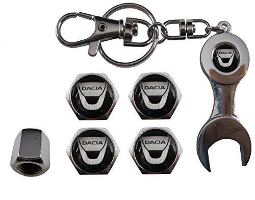 Valvulas de acero inoxidable para coche + llavero apreta tuercas Dacia aut011-2