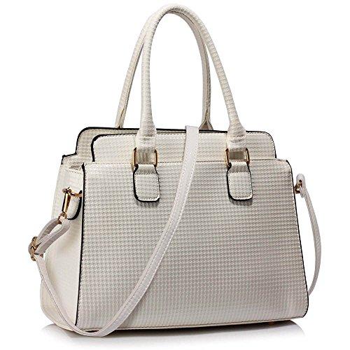TrendStar Damen-Taschen-Tasche Schultertasche Promi-Art-Frauen Entwerfer Poliertes Hardware Faux Leder Y - Weiß