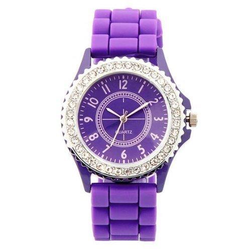 Preisvergleich Produktbild Armbanduhr Uhr klassisch stylish Gummi Silikon Kristall Herren Damen Geschenk neu - Violett