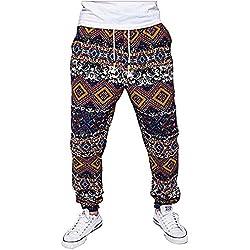 Pantalones de Chándal Pantalones Deportivos Pantalones de Yoga Bohemia Anchos Casual y Cómoda para Hombre M Rojo