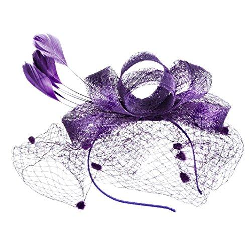 Kostüm Klammern Kopfbedeckung - TUDUZ Fascinator Blume Mesh Bänder Federn Hochzeit Party Kopfbedeckung Hut für Mädchen und Frauen Kostüm Karneval Fasching (Lila)