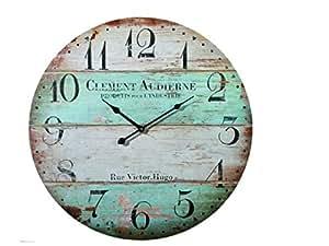 Bakaji orologio da parete stile vintage in legno consumato for Orologio legno amazon