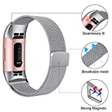 HUMENN Compatible for Fitbit Charge 3 Strap, Milanese Metal Replacement Band Fully Adjustable Wristbands with Strong Magnet Lock for Fitbit Charge3, Small Silver
