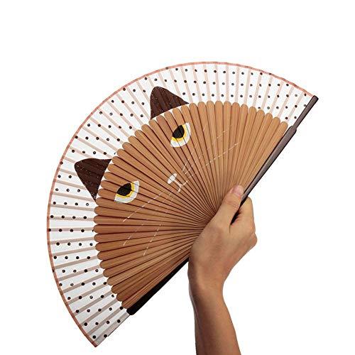 chalkalon Cartoon Katze Seide Faltfächer Chinesischen/Japanischen Stil Handbemalte Handfächer für Mädchen oder Anime Fans (Oder Mädchen Chinesisch Japanisch)