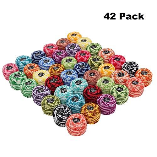 Kurtzy filo per uncinetto 42 pezzi e 2 ganci - sfere di filo di cotone 2 tonalità taglia 8 peso 5g e 43 metri - filo di colore assortiti per progetti e ricamo a mano
