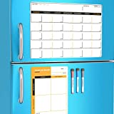 Magnetic Dry Erase Calendar with Refrigerator to-Do List for Kitchen - Monthly Planner Board for Fridge - Family Weekly Whiteboard Organizer - Reusable Writing Pad Magnets - Day Week Planning Sheets
