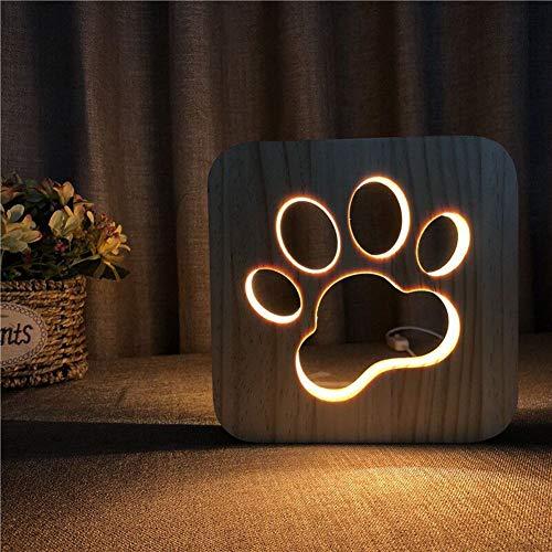 LED Schreibtischlampe 3D Illusions Lampe Persönlichkeits Hund Pfote Form Hölzerne Nachtlicht Bettdecke Licht Augenpflege Arbeitslicht Studieren Lampe Geschenk Für Kinderschlaf Zimmer (Lampe Hölzerne)