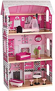 KidKraft 65832 Bonita Rosa wooden Dollhouse with furniture and accessories included 3 storey play for 30 cm do