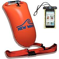 New Wave Swim Buoy - Boya Natación - La boya para nadadores y triatletas de aguas abiertas. Ligera, alta visibilidad y gran flotabilidad para entrenamiento o competición (Naranja PVC Media-15L / Bundle With Waterproof Phone Case)