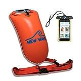 New Wave Schwimmboje für Openwater Schwimmer und Triathleten - Visible Float für Training und Wettkampf (Orange PVC Mittel 15L Bundle with Waterproof Phone Case)
