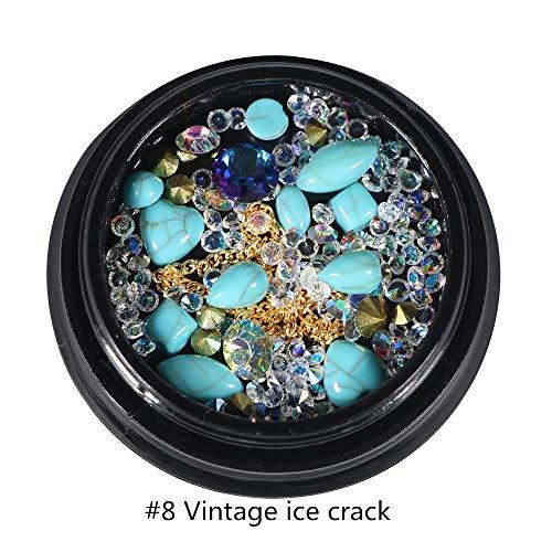 MUUZONING 3D Legierung Strass Steine für Nail Art Dekorationen, Nail Perlen Glitter Kristalle Nagel Dekoration Großer Edelstein,(#8 Vintage Eis rissigen Stein) Vintage Eis