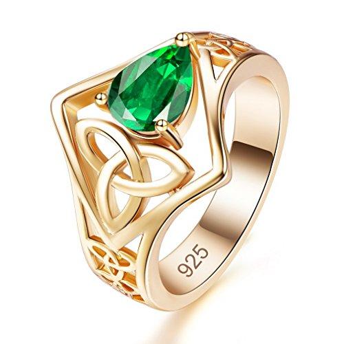 Yazilind grün ovale Zirkonia Ringe Hohle Form vergoldet Engagement für Damen Größe 18.8 (Ring Granat Grüner)