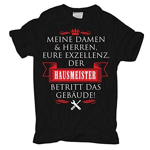 Männer und Herren T-Shirt Eure Exzellenz DER HAUSMEISTER Schwarz