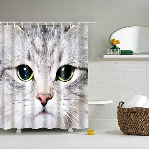 elzigen schwarzen Augen rote Nase Katze 3D-Digitaldruck feuchtigkeitsbeständig Mehltau Bad Vorhang 180X180CM + 12 Haken ()
