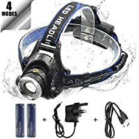 WASAGA Head Torch, 2000 Lumen 5000 Lumen Zoomable Rechargeable LED Headlamp Headlight Flashlight, Waterproof Adjustable LED Headlamp, Perfect for Running, Walking the dog, Camping, Reading