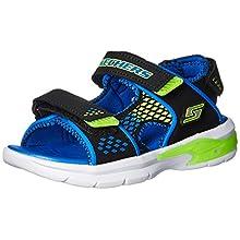 Skechers Boy's 90558L Open Toe Sandals, Black (Black/Blue/Lime), 11.5 UK Child 29 EU