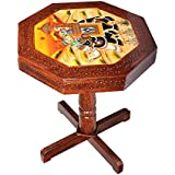 Apkamart Handcrafted And Handpainted Wooden Stool Cum Side Table - 15 Inch
