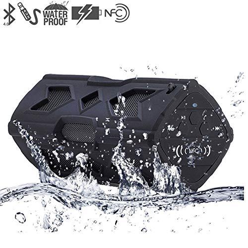 Lvreby NFC Portable Speaker Waterproof Wireless Bluetooth Speaker Soundbar Built in Battery Power Bank Support for Phone PC,Black Black Extended Battery Support
