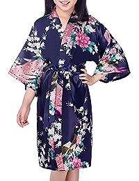 Hammia Kinder Mädchen Morgenmantel Kimono Satin Nachtwäsche Bademantel Robe Peacock Blume Negligee Schlafanzug Schwimmen Hochzeit Geburtstag