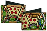 Buckle Down Men's Canvas Tmnt Turtle Battle Poses/Pizza Bi-Fold Wallet, Multi, One Size