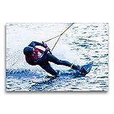 CALVENDO Toile Textile de qualité supérieure - 75 x 50 cm - Wakeboarding Extrem - Tableau sur châssis - Impression sur Toile véritable - Wakeboard au Limit Sport Sport