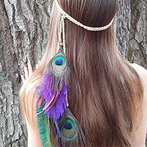 der Stirnband Hippie Headpieces Boho Native Kopfschmuck für Maskerade Kostüm Kopfbedeckungen für Frauen Mädchen, Beige ()