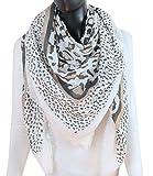 Caripe XXL großer Damen Schal quadratisch Halstuch oversized Punkte Paisley Anker Sterne - PS (One Size, Leo - weiß)