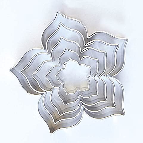 Lily Flower-Shaped Cookie Cutters, Set of 5,15/25/35/45/55 mm Stainless Steel