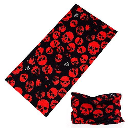 Ksweet Funktionstücher Herren Multifunktionstuch Schlauchtuch Halstuch Multischal Outdoor Sport Multifunktionstücher (Rot skull)