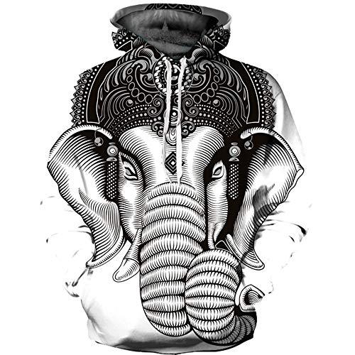 XINGMU Sudaderas con Capucha Animales Elefantes Blancos Y Negros Estilos De Pareja...