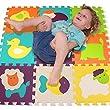 Puzzle Spielmatte - Verzahnte Puzzle Quadrate fördern die visuelle-sensorische Entwicklung - Sanfte Baby-Bodenmatte - 9 Quadrate mit lebendigen Tierbildern, um die Aufmerksamkeit des Kindes anzuziehen - Schaumstoff Bodenquadrate - EVA-Matte - Nicht giftig