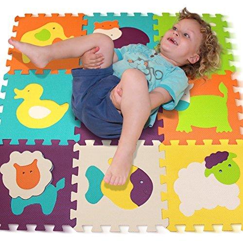 Alfombra de Juego Puzzle – Piezas de Puzzle de Encaje que Promueven el Desarrollo Sensorial Visual – Alfombra Suave para Niños – 9 Azulejos con Vibrantes Imágenes para Capturar la Atención del Niño – Azulejos de Suelo de Goma - EVA Mat - No Tóxico