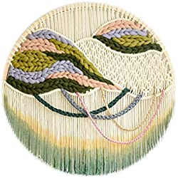 Tapiz de Macrame circular - Bohemio Tejido De Fibra De Algodón