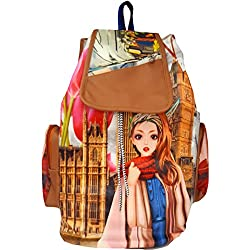 Typify Printed Casual Purse Fashion School Leather Backpack Shoulder Bag Mini Backpack Girls & Women's Bag (Tan-Pink)