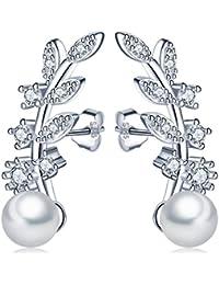 Unendlich U Fashion Blätter Damen Ohrstecker 925 Sterling Silber 5mm Perlen Zirkonia Ohrringe Pearls Earrings