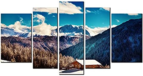 OBELLA New Wall Art Canvas Prints 5 Pieces - Mountains, Cabin & Clouds - Inner Framed, Ready to Hang - Oil Paintings Prints and Pictures Photo Image Wall Art Prints on Canvas for Bedroom Living Room Wall Decor Christmas Gifts