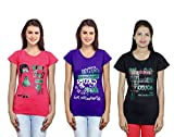 Indistar Girls Cotton T-Shirt (Pack of -3)