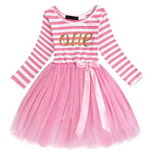 OBEEII Baby Mädchen Geburtstag Kostüm Neugeborenen Streifen Muster Drucken Mesh Tüll Kleid PrinzessinTutu Rock mit Bowknot für Geburtstag Party Fotografie für Kinder Rosa (1 ()