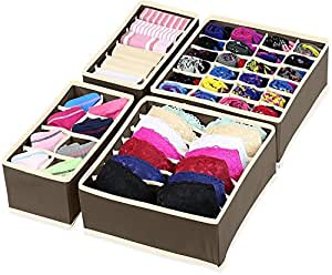 House of Quirk Set of 4 Foldable Storage Box Drawer Divider Organizer Closet Storage for Socks Bra Tie Scarfs - Brown