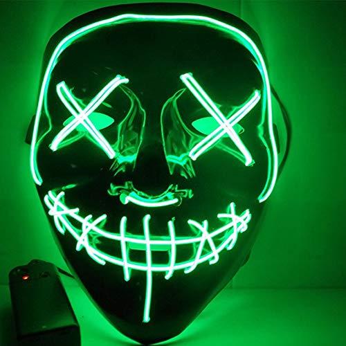 (SunRlity Halloween Maske LED Leuchten Party Masken Die Reinigung Wahl Jahr Große Lustige Masken Festival Cosplay Kostüm Liefert Glow In Dark (Green))