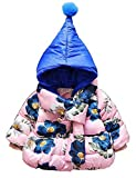 Toddler Baby Girls Hooded Flower Printed Winter Coat Quilted Jacket Outerwear (6-12Months