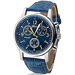 Ouku@Men Wrist Watch Watches PU Easy Read Quartz Movement Business Men's Sports watch Casual watches Cycling Analog wristwatch (Blue Color)